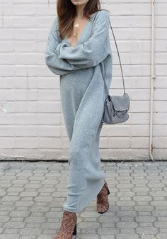Grey Draped V-neck Long Sleeve Fashion Sweater Maxi Dress Long Winter Dresses, Long Grey Dress, Smart Casual Women, Pull Gris, Sweater Fashion, Fashion Fashion, Street Fashion, Retro Fashion, Fashion Tips