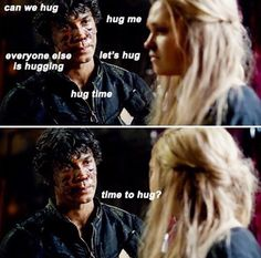 """Hug time?!?"" -Bellamy ""You guys just did last episode?!?"" -Jason ""But Dad I love her?!?"" -Bellamy #The100 #Bellarke"
