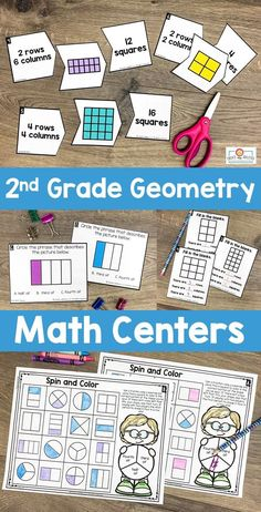 2nd Grade Geometry Math Centers - Here your second graders get 387 pages of geometry, attributes of shapes, and partitioning shapes math centers. You'll find 25 hands-on games and center activities, center signs, game boards, math journal pages, and more. Click through to see the sorts, activities, drawing, investigations, Memory game, and more! {Year 2} #Math #MathGames #SecondGradeMath Teaching Second Grade, First Year Teaching, Second Grade Math, Teaching Ideas, Activity Centers, Math Centers, Circle Math, Center Signs, 2nd Grade Classroom