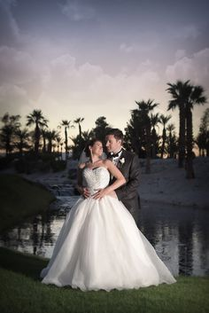 The bride and groom share a special moment at sunset on the Bali Hai Golf Club   Photo by Bently & WIlson   Las Vegas Wedding Venue   Destination Wedding   Golf Course Wedding