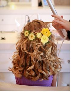 Love the flowers and style although I'd do less structured heat curls and make it way more natural.