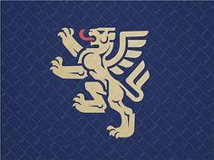 Winged lion rampant logo