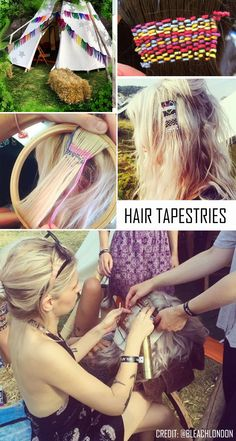 Festival Hair Tapestries -- Needlepoint for the hair. looks cool! Brown To Blonde Ombre Hair, Ombre Hair Color, Blonde Hair, Boho Hairstyles, Unique Hairstyles, Festival Hair, Wedding Beauty, Boho Wedding, Looks Cool