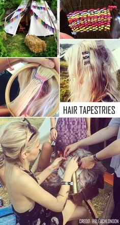 Festival Hair Tapestries -- Needlepoint for the hair. Credit: Bleach London Salon. Read the story! #hair #festival