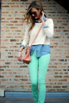 Mint skinnies with a cream cropped sweater atop a chambray and a brown leather cross body.