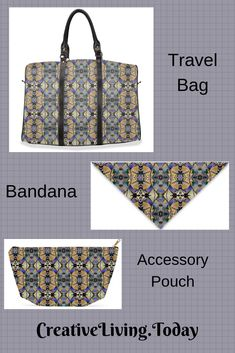 Fun prints and designs adorn these accessory/ makeup pouches and bandanas for your hair or dog. Travel Gifts, Travel Bag, Small Gifts, Unique Gifts, Wedding Gown Preservation, Bridesmaids And Groomsmen, Makeup Pouch, Fun Activities For Kids, Fun Prints
