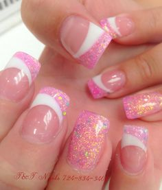 New Manicure Francesa Glitter Art Designs Ideas French Nails, French Manicure Nails, Manicure Tips, French Manicure Designs, Solar Nail Designs, Nail Art Designs, Cute Nails, Pretty Nails, My Nails