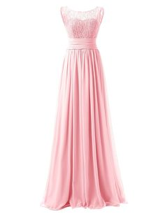 Dresstells® Long Prom Dress Scoop Bridesmaid Dress Lace Chiffon Evening Gown at Amazon Women's Clothing store: