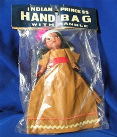 VTG 1950S CELLULOID INDIAN GIRL KID'S purse doll HANDBAG, IOP DIME STORE NOVELTY in Clothing, Shoes & Accessories | eBay