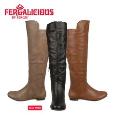 Look fabulous this fall in boldly tall riding boots. Worn with tights & tall wool socks of a different hue for contrast, & a streamlined above the knee dress, you'll be crowning yourself fashion royalty in the Fergalicious by Fergie TIARA boots from Shoes.com!