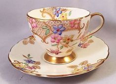 E.B. Foley Bone China Demitasse Cup & Saucer Enameled Flowers & Gold Filigree $1