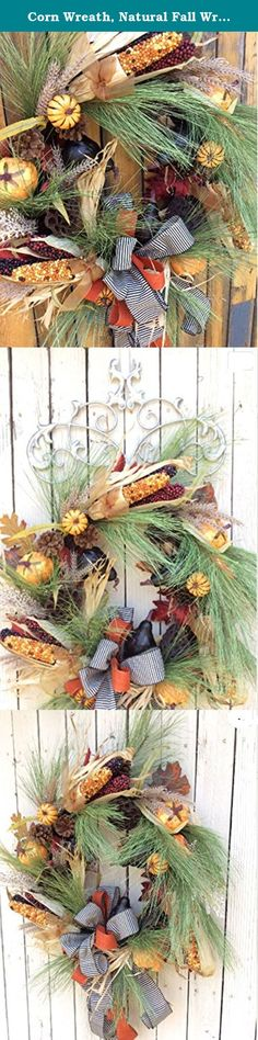 """Corn Wreath, Natural Fall Wreath, Harvest Wreath,Double Door Wreath. Wonderful classic fall wreath that will welcome in the fall season. The fun corn and pumpkins are surrounded by fall berries and evergreen pines. Just right to take you from Halloween to Thanksgiving. Dimensions 24""""x22"""" and 6 """" Deep Created on a18 inch grapevine base Paper Wrapped Metal Hanger attached This wreath will work inside or out with protective covering. This wreath with have limited lifespan if placed out in…"""