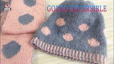 Gorro REVERSIBLE tejido doble Knitted Hats, Macrame, Knitting Patterns, Knit Crochet, Beanie, Logan, 3d, Videos, Youtube