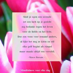 Sluit je ogen een seconde / zet een lach op je gezicht / zeg bedankt tegen het leven / voor de liefde en het licht. / Doe een wens voor iemand anders, / al lijkt het nog zo klein en stil / elke golf begint als rimpel / maar maakt altijd een verschil. ~ Marco Borsato | mindfulness voor elke dag 2014-05-27