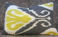 Designer Pillow Cover - 12 x 18 - Bansuri Ikat Charcoal -. $30.00, via Etsy.