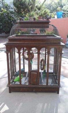 A Century English Wood & Wire Birdcage Old Wood, How To Antique Wood, Dark Wood, Small Bird Cage, Small Birds, Wood Stairs, Stair Railing, Japanese Lamps, Fence Post Caps
