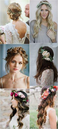 trending wedding hairstyles with flower crowns #bridalfashion #weddingideas #weddinghairstyle
