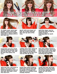 How to curl your hair with a straightener and/or flat iron. Great tips! #hairstyle #tutorial #howto