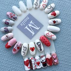 More Cute Artificial Nail Designs for Girls – Nail Art Ideas 2020 Holiday Nails, Christmas Nails, Christmas Design, Love Nails, Fun Nails, Valentine's Day Nail Designs, Nails Design, Valentine Nail Art, Disney Valentines