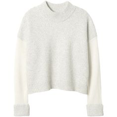 Rebecca Taylor Block Stitch Turtleneck ($179) ❤ liked on Polyvore featuring tops, sweaters, shirts, jumpers, cream combo, wool sweater, wool shirt, white turtleneck, turtleneck sweater and white wool sweater
