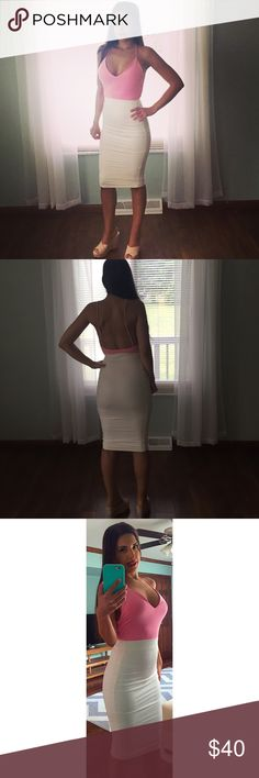 """Suede Midi Skirt in Ivory! Accentuates curves! Made in the USA  This gorgeous ivory midi skirt is made of a very soft & stretchy faux suede material. It lifts and accentuates your curves like no skirt I've ever seen! Excellent quality!  I am modeling a Small and I am 5'4"""" 112 lbs, 32D, 24"""" waist, 36"""" hips. This skirt does have a good amount of stretch and no annoying zipper! Price is FIRM since this is a NWOT brand new retail item.  NO TRADES!!!! Boutique Skirts Midi"""
