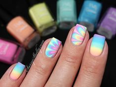 Rainbow Nails! Pretty Serious Pet Names - pastel neon indie polish - Watermarble and Gradient Nail Tutorial | Sassy Shelly