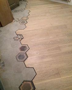 19 Flooring Transitions From Wood To Tile Fancydecors Hexagon Tile Bathroom Floor Flooring Bathroom Flooring