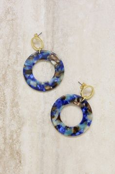 21e36388e Ettika Blue Mix Resin Hoops in Gold Washer Necklace, Resin, Stones, Rocks,