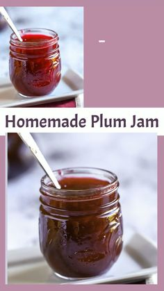 Make homemade plum jam with this easy recipe. Start with fresh plums, add sugar, and cook into a beautiful jam. Homemade preserves let you savor the flavor of plums for months to come. Plum Jam Recipes Easy, Plum Jelly Recipes, Fruit Recipes, Apple Recipes, Sugar Free Plum Jam Recipe, Wild Plum Jelly Recipe, Homemade Jam Recipes, Plum Recipes Healthy, Recipes