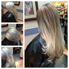 Color correction. My client had a bad bleach & tone at another salon, came in with dark roots, yellow hot roots, silver mids and yellow ends with extreme breakage. We did an Olaplex treatment, a conditioning treatment and a filler to achieve this beautiful sandy blonde. Blonde Color, Blonde Highlights, Hair Color, Olaplex Hair Treatment, Hair Inspo, Hair Inspiration, Sandy Blonde Hair, Blonde With Dark Roots, Aveda Hair