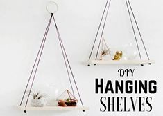 The brilliance in these DIY hanging shelves lie in that they take but one hole in the wall.