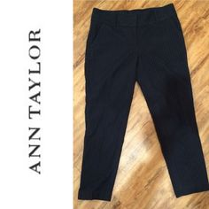 Ann Taylor Navy Eyelet Pants These pants can go from the office to Sunday brunch effortlessly! In like new condition and so flattering! Please feel free to ask questions or make offers! Happy to give bundle discounts - check out my other listings! ☺️ Ann Taylor Pants Ankle & Cropped