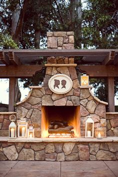 Outdoor fireplace: like the shape of the fireplace with the pergola above