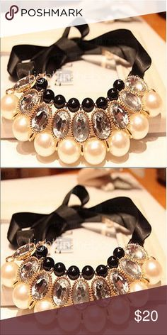 Pearls crystals and ribbon choker Beautiful pearl , crystals and black stones choker necklace no Jewelry Necklaces