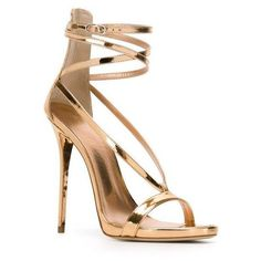 GIUSEPPE ZANOTTI Strappy Sandals ($727) ❤ liked on Polyvore featuring shoes, sandals, heels, sapatos, ankle strap stilettos, leather strappy sandals, ankle strap sandals, strap sandals and high heel stilettos