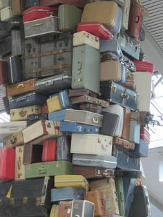 Suitcases as art at Sacramento Airport.