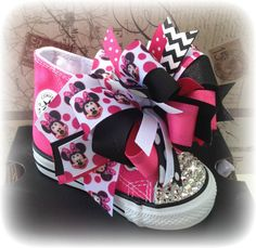 Hot Pink Minnie Mouse bows for our blinged Converse and the hair!