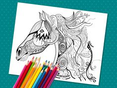 Adult coloring page for horse lovers. Equestrian decor, Printable PDF horse coloring page, Pattern Pony page, size Horse Coloring Pages, Printable Coloring Pages, Hand Coloring, Adult Coloring, Gypsy Horse, Equestrian Decor, Coloured Pencils, Have Some Fun, Pony