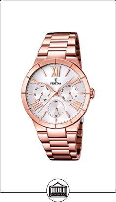 Festina F16718/1 - Reloj de cuarzo para mujer, con correa de acero inoxidable chapado, color oro rosa  ✿ Relojes para mujer - (Gama media/alta) ✿