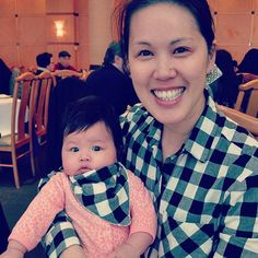Wearing my #gingham @grainlinestudio #archerbuttonup with my cute companion wearing a matching bandana bib!gingham,archerbuttonupdeb_onaire
