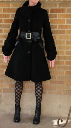 MACKAGE~Monica~Wool/Cashmere Coat w/ Leather Belt~Ruched Sleeves~S~$650 **RARE**
