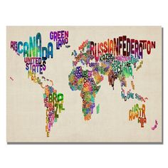 @Overstock.com - Michael Tompsett 'Typography World Map II' Canvas Art - Artist: Michael TompsettTitle: Typography World Map IIProduct Type: Gallery-wrapped canvas art   http://www.overstock.com/Home-Garden/Michael-Tompsett-Typography-World-Map-II-Canvas-Art/7569650/product.html?CID=214117 $47.04