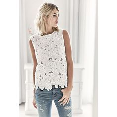 Top, florale Webspitze