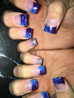 Purple and blue Tye dyed with silver accent nail