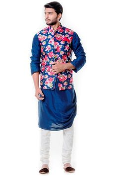 Designer blue waistcoat with pink floral waistcoat Nehru jacket.Get the outfit for Manufacturer rate call or WhatsApp at Wedding Dress Men, Indian Wedding Outfits, Wedding Suits, Indian Weddings, Wedding Couples, Wedding Ideas, Indian Men Fashion, Mens Fashion Wear, Suit Fashion