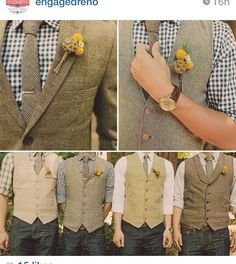 Love love love this look. Except blue jeans all same color vest and groom with the jacket :)