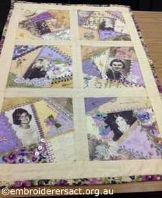 personal historical crazy quilt | Here's her daughter Anna who has embroidered some of the detail on ...