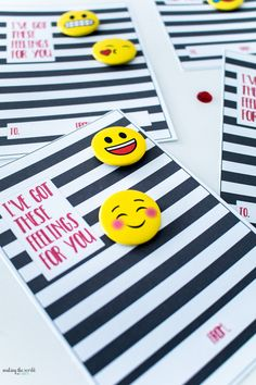 """""""I've got these feelings for you!"""" Emoji Valentines Cards for Kids with Buttons. Love the black and white stripes!"""