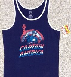 new Mens CAPTAIN AMERICA TANK TOP Navy Blue White Red Vtg Marvel Comic Book Logo #Marvel #Tank