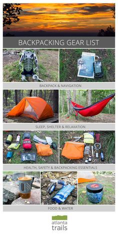 Backpacking gear list for multi-day and overnight hikes. Make sure that you don't forget anything!